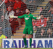 Leyton Orient goalkeeper Alex Cisak spreads his arms out in frustration during the Sky Bet League 2 match between Leyton Orient and Oxford United at the Matchroom Stadium, London, England on 17 October 2015. Photo by Bennett Dean.