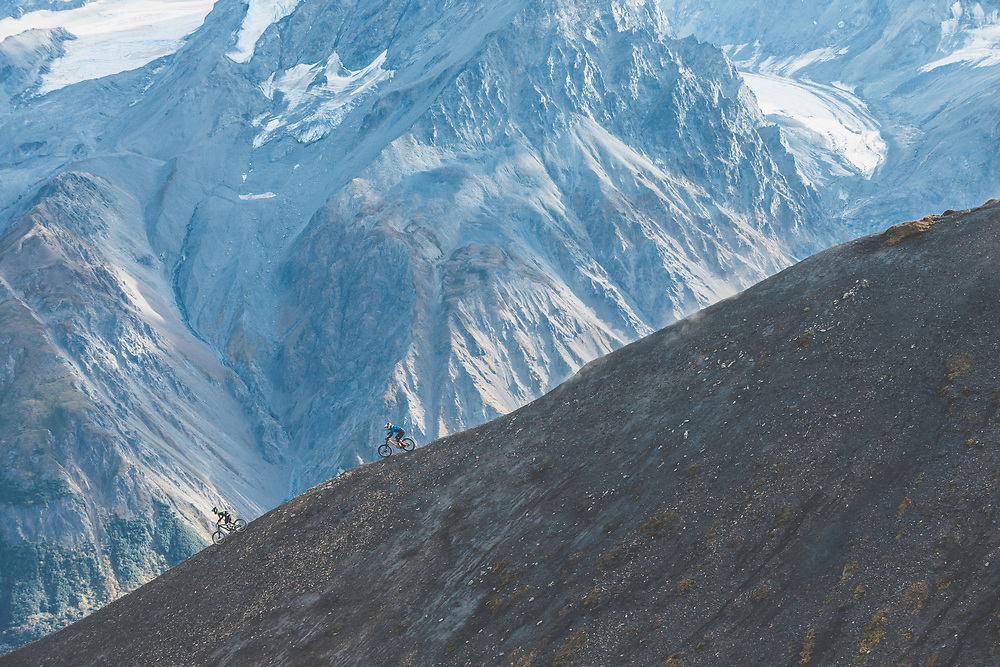 Carson Storch and Tyler McCaul ride down a previously untouched slope in the Tatshenshini-Alsek Provincial Park in British Columbia, Canada on September 4, 2016.
