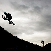 in action during the 'Red Bull Roast It' BMX competition with riders from around the globe competing at the Gorge Road Jump Park, Queenstown, South Island, New Zealand. 18th February 2012. Photo Tim Clayton