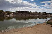 19 December 2011, Sendelingsdrift, Orange River, South Africa. The pontoon crossing between Namibia and the Orange River is only operable if the river is not in flood.