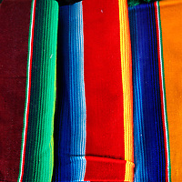 Americas, Mexico, Guanajuato. Typical Mexican textile used in sarapes and blankets, for sale in markets of Mexico.
