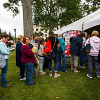 Patrons of the 2017 Morristown Festival of Books wait to have authors sign their books, Morristown, NJ, 10/14/17.