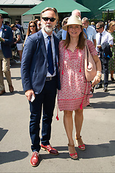 © Licensed to London News Pictures. 04/07/2018. London, UK. Chef Marcus Wearing and wife Jane Wearing attend the Wimbledon Tennis Championships 2018, Day 3. Photo credit: Ray Tang/LNP