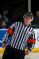 KELOWNA, CANADA - SEPTEMBER 28: Referee on September 28, 2016 at Prospera Place in Kelowna, British Columbia, Canada.  (Photo by Marissa Baecker/Shoot the Breeze)  *** Local Caption *** Referee; ice official;
