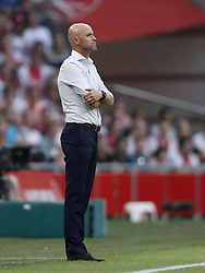 Ajax coach Erik ten Hag during the UEFA Champions League second round qualifying first leg match between Ajax Amsterdam and Sturm Graz at the Johan Cruijff Arena on July 25, 2018 in Amsterdam, The Netherlands