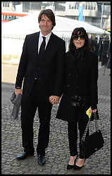 Claudia Winkleman and Kris Thykier arrives at Westminster Abbey for the service to celebrate the life and work of Sir David Frost, Westminster Abbey, London, United Kingdom. Thursday, 13th March 2014. Picture by Andrew Parsons / i-Images