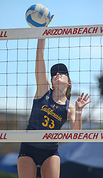 April 7, 2018 - Tucson, AZ, U.S. - TUCSON, AZ - APRIL 07: California Golden Bears Maddie Micheletti (33) hits the ball during a college beach volleyball match between the California Golden Bears and the Arizona Wildcats on April 07, 2018, at Bear Down Beach in Tucson, AZ. Arizona defeated California 3-2. (Photo by Jacob Snow/Icon Sportswire (Credit Image: © Jacob Snow/Icon SMI via ZUMA Press)