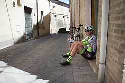 Saartje Vandenbroucke (BEL) of Lares Waowdeals Cycling Team cools down after finishing on Stage 5 of the Giro Rosa - a 12.7 km individual time trial, starting and finishing in Sant'Elpido A Mare on July 4, 2017, in Fermo, Italy. (Photo by Balint Hamvas/Velofocus.com)
