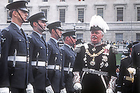 State Opening of the N Ireland Parliament, Stormont, Belfast, 22nd June 1971.  The Governor of N Ireland, Lord Grey of Naunton, representing the Queen at the ceremony inspects a Royal Airforce Regiment guard of honour. This was the last State Opening of the N Ireland Parliament as it was suspended with the introduction of Direct Rule. It was subsequently abolished under the Northern Ireland Constitution Act 1973. 197106220270c<br /> <br /> Copyright Image from Victor Patterson,<br /> 54 Dorchester Park, Belfast, UK, BT9 6RJ<br /> <br /> t1: +44 28 90661296<br /> t2: +44 28 90022446<br /> m: +44 7802 353836<br /> <br /> e1: victorpatterson@me.com<br /> e2: victorpatterson@gmail.com<br /> <br /> For my Terms and Conditions of Use go to<br /> www.victorpatterson.com