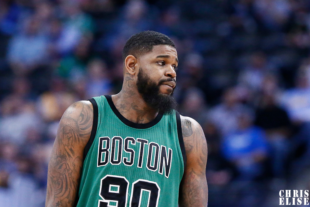 10 March 2017: Boston Celtics forward Amir Johnson (90) rests during the Denver Nuggets 119-99 victory over the Boston Celtics, at the Pepsi Center, Denver, Colorado, USA.