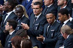 LIVERPOOL, ENGLAND - Friday, April 15, 2016: Mamadou Sakho, Dejan Lovren and Nathaniel Clyne during the 27th Anniversary Hillsborough Service at Anfield. (Pic by David Rawcliffe/Propaganda)
