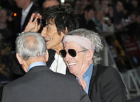 LONDON - OCTOBER 18: Charlie Watts; Ronnie Wood; Keith Richards attended the screening of 'Crossfire Hurricane' at the Odeon, Leicester Square, London, UK. October 18, 2012. (Photo by Richard Goldschmidt)