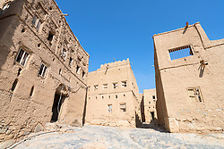 View of abandoned old mud houses in Al Hamra Oman
