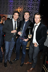 Left to right, members of Blake STEPHEN BOWMAN,  OLLIE BAINES and HUMPHREY BERNEY at the ZEO 'Just January' Party held at the Buddha Bar, 145 Knightsbridge, London SW1 on 31st January 2013.
