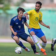 TOULON, FRANCE June 15.  Ao Tanaka #4 of Japan challenged by Matheus Cunha #19 of Brazil during the Brazil U22 V Japan U22 Final match at the Tournoi Maurice Revello at Stade D'Honneur on June 15th 2019 in Toulon, Provence, France. (Photo by Tim Clayton/Corbis via Getty Images)