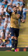 Olivier Giroud of Arsenal celebrates after scoring his team's equalising goal to make it 1-1 during the Barclays Premier League match at the Etihad Stadium, Manchester<br /> Picture by Russell Hart/Focus Images Ltd 07791 688 420<br /> 08/05/2016