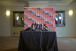 CARDIFF, WALES - Thursday, November 12, 2015: Microphones on an empty table before a press conference at the Vale of Glamorgan ahead of the International Friendly against the Netherlands. (Pic by David Rawcliffe/Propaganda)