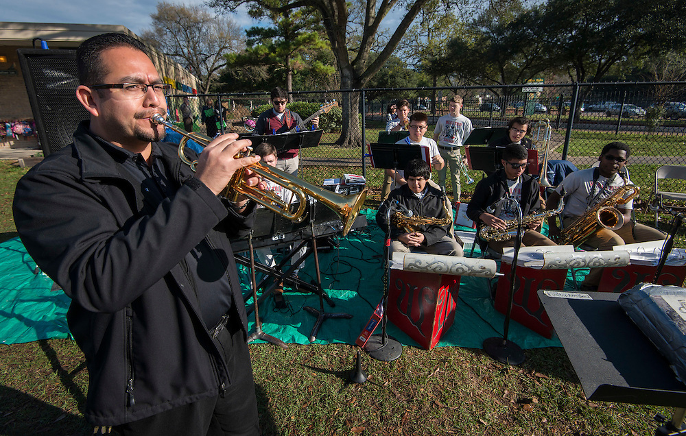 The Waltrip High School Jazz Band performs during a groundbreaking ceremony at Garden Oaks Montessori, February 17, 2017.