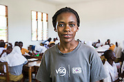 VSO ICS volunteer Bertha Mhepela in the classroom at Mingoyo school as part of the VSO / ICS Elimu Fursa project (Opportunities in Education) Lindi, Lindi region. Tanzania.