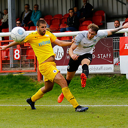 SEPTEMBER 1y6:  Dover Athletic against Chester FC in Conference Premier at Crabble Stadium in Dover, England. Doveer ran out emphatic winners 4 goal to nothing. Dover's forward Ryan Bird crosses the ball past Chester's Ryan Astles. (Photo by Matt Bristow/mattbristow.net)