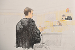 In this courtroom sketch, Crown lawyer John Gibb-Carsley addresses a bail hearing for Huawei executive Meng Wanzhou at B.C. Supreme Court in Vancouver, BC, Canada on Monday, December 10, 2018. Photo by Jane Wolsak/CP/ABACAPRESS.COM