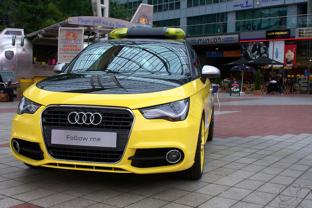Questions? An Audi A4 in Airport follow-me livery. Quite an attractive proposition!