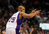 Feb. 4, 2011; Phoenix, AZ, USA; Phoenix Suns guard Vince Carter (25) reacts after putting up a basket against the Oklahoma City Thunder at the US Airways Center. The Thunder defeated the Suns 111-107. Mandatory Credit: Jennifer Stewart-US PRESSWIRE.