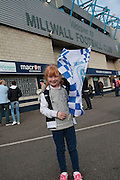 Young fan outside the Den before the Sky Bet League 1 play-off second leg match between Millwall and Bradford City at The Den, London, England on 20 May 2016. Photo by Nigel Cole.