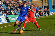 Gillingham FC midfielder Jake Hessenthaler (8) and Walsall midfielder  Adam Chambers  (7) during the EFL Sky Bet League 1 match between Gillingham and Walsall at the MEMS Priestfield Stadium, Gillingham, England on 17 February 2018. Picture by Martin Cole.