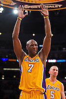 25 February 2011: Forward Lamar Odom of the Los Angeles Lakers reacts after being called for a foul against the Los Angeles Clippers during the first half of the Lakers 108-95 victory over the Clippers at the STAPLES Center in Los Angeles, CA.