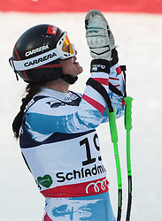 08.02.2013, Planai, Schladming, AUT, FIS Weltmeisterschaften Ski Alpin, Super Kombination, Slalom, im Bild Elisabeth Goergl (AUT) // Elisabeth Goergl of Austria reacts after Ladies Super Combined Slalom at the FIS Ski World Championships 2013 at the Planai Course, Schladming, Austria on 2013/02/08. EXPA Pictures © 2013, PhotoCredit: EXPA/ Sammy Minkoff