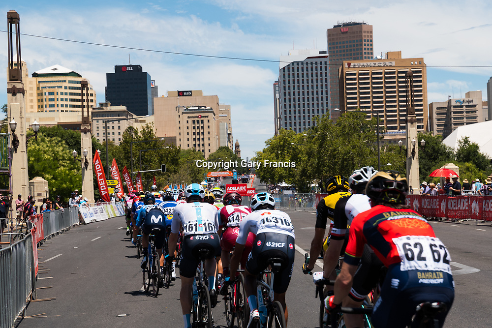 The Peloton heading to the city at Stage 6, Adelaide City Circuit, of the Tour Down Under, Australia on the 21 of January 2018 ( Credit Image: © Gary Francis / ZUMA WIRE SERVICE )