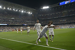 September 19, 2018 - Madrid, Madrid, Spain - Isco of Real Madrid celabrates after the first goal during the Group G match of the UEFA Champions League between Real Madrid and AS Roma at Santiago Bernabeu Stadium on September 19, 2018 in Madrid, Spain. (Credit Image: © Patricio Realpe/NurPhoto/ZUMA Press)