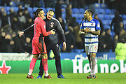 Reading manager Paul Clement celebrates with and congratulates Vito Mannone (1) of Reading as he celebrates the 1-0 win at full time after he had saved a stoppage time penalty during the EFL Sky Bet Championship match between Reading and Queens Park Rangers at the Madejski Stadium, Reading, England on 30 March 2018. Picture by Graham Hunt.