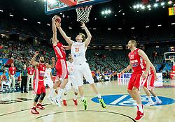 09-09-2015 CRO: FIBA Europe Eurobasket 2015 Nederland - Kroatie, Zagreb<br /> Mario Hezonja of Croatia vs Robin Smeulders of Netherlands during basketball match between Netherlands and Croatia. Photo by Vid Ponikvar / RHF