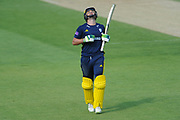Rilee Rossouw of Hampshire celebrates reaching his century during the Royal London One Day Cup match between Hampshire County Cricket Club and Essex County Cricket Club at the Ageas Bowl, Southampton, United Kingdom on 23 May 2018. Picture by Dave Vokes.