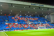 Rangers fans put on a flag display before the Europa League group stage match between Rangers FC and Villareal CF at Ibrox, Glasgow, Scotland on 29 November 2018.