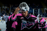 KELOWNA, CANADA - OCTOBER 21: Roman Basran #30 of the Kelowna Rockets stands at the bench during warm up against the Portland Winterhawks on October 21, 2017 at Prospera Place in Kelowna, British Columbia, Canada.  (Photo by Marissa Baecker/Shoot the Breeze)  *** Local Caption ***