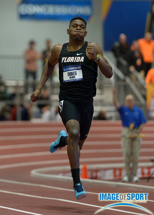Mar 14, 2014; Albuquerque, NM, USA; Dedric Dukes of Florida runs 20.34 in a 200m heat in the 2014 NCAA Indoor Championships at Albuquerque Convention Center.