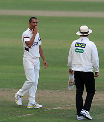 Dejection for Somerset's Alfonso Thomas. - Photo mandatory by-line: Harry Trump/JMP - Mobile: 07966 386802 - 05/07/15 - SPORT - CRICKET - LVCC - County Championship Division One - Somerset v Sussex- The County Ground, Taunton, England.