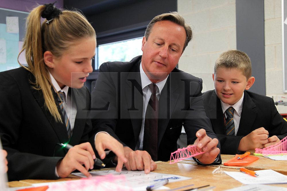 ©Licenced to London News Pictures. 02/09/15<br /> Corby Technical School, Corby, Northamptonshire. UK. Prime Minister David Cameron visiting Corby Technical School on the day a new batch of Free Schools are to be set-up.<br /> Photo credit Steven Prouse/LNP