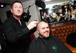 Paul Murray from Allergan Westport who is taking part in Today FM's Shave or Dye gets his head shave from Larry Wallpole last week ...Pic Conor McKeown