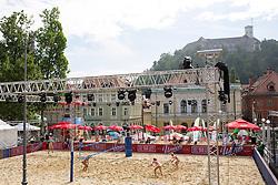 View on the main court at Beach Volleyball Challenge Ljubljana 2014, on August 1, 2014 in Kongresni trg, Ljubljana, Slovenia. Photo by Matic Klansek Velej / Sportida.com