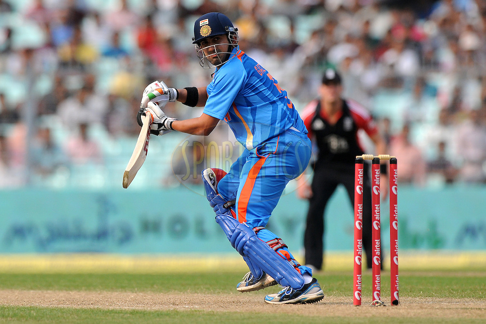 Gautam Gambhir of India bats during the 5th One Day International ( ODI ) match between India and England held at the Eden Gardens Stadium, Kolkata on the 23rd October 2011..Photo by Pal Pillai/BCCI/SPORTZPICS