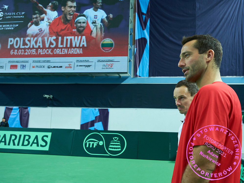 (L) Radoslaw Szymanik - captain national team and trainer assistant Aleksander Charpantidis during first day the Davies Cup / Group I Europe / Africa 1st round tennis match between Poland and Lithuania at Orlen Arena on March 6, 2015 in Plock, Poland<br /> Poland, Plock, March 6, 2015<br /> <br /> Picture also available in RAW (NEF) or TIFF format on special request.<br /> <br /> For editorial use only. Any commercial or promotional use requires permission.<br /> <br /> Mandatory credit:<br /> Photo by &copy; Adam Nurkiewicz / Mediasport
