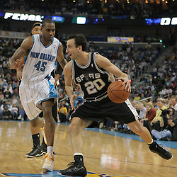 29 March 2009: San Antonio Spurs guard Manu Ginobili (20) is guarded by New Orleans Hornets guard Rasual Butler (45) during a 90-86 victory by the New Orleans Hornets over Southwestern Division rivals the San Antonio Spurs at the New Orleans Arena in New Orleans, Louisiana.