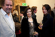 MIKE FIGGIS; BIANCA JAGGER; ROSEY CHAN, David Salle private view at the Maureen Paley Gallery. 21 Herlad St. London. E2. <br /> <br />  , -DO NOT ARCHIVE-&copy; Copyright Photograph by Dafydd Jones. 248 Clapham Rd. London SW9 0PZ. Tel 0207 820 0771. www.dafjones.com.