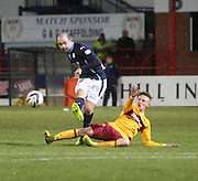Motherwell Ross McLean tries to stop Dundee's Gary Harkins shooting -  Dundee v Motherwell, SPFL Premiership at Dens Park <br /> <br /> <br />  - &copy; David Young - www.davidyoungphoto.co.uk - email: davidyoungphoto@gmail.com