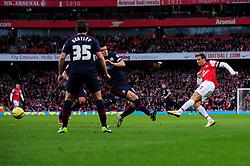 Arsenal's Nacho Monreal shoots from just outside the box - Photo mandatory by-line: Dougie Allward/JMP - Tel: Mobile: 07966 386802 16/02/2013 - SPORT - FOOTBALL - Emirates Stadium - London -  Arsenal V Blackburn Rovers - FA Cup - Fifth Round