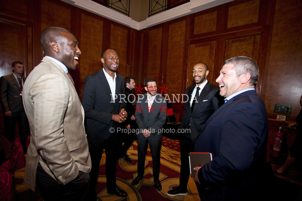NEWPORT, WALES - Friday, May 29, 2015: Sol Campbell, Patrick Vieira, Thierry Henry and Osian Roberts during the Football Association of Wales' National Coaches Conference 2015 at the Celtic Manor Resort. (Pic by David Rawcliffe/Propaganda)